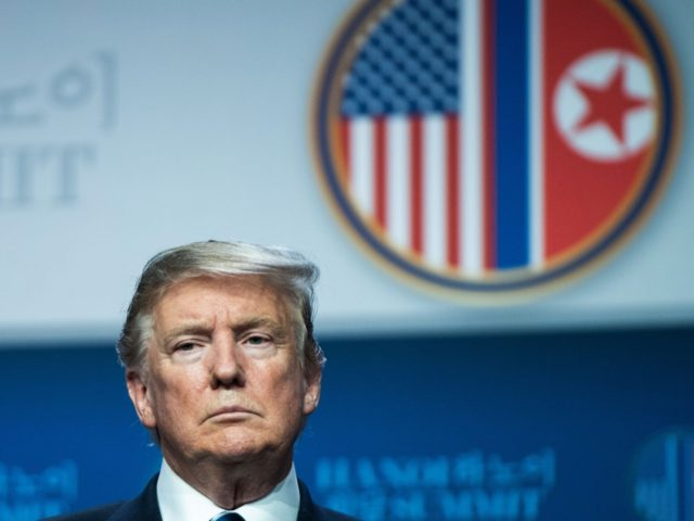 US President Donald Trump attends a press conference following the second US-North Korea summit in Hanoi on February 28, 2019. - The nuclear summit between US President Donald Trump and Kim Jong Un in Hanoi ended without an agreement on February 28, the White House said after the two leaders …