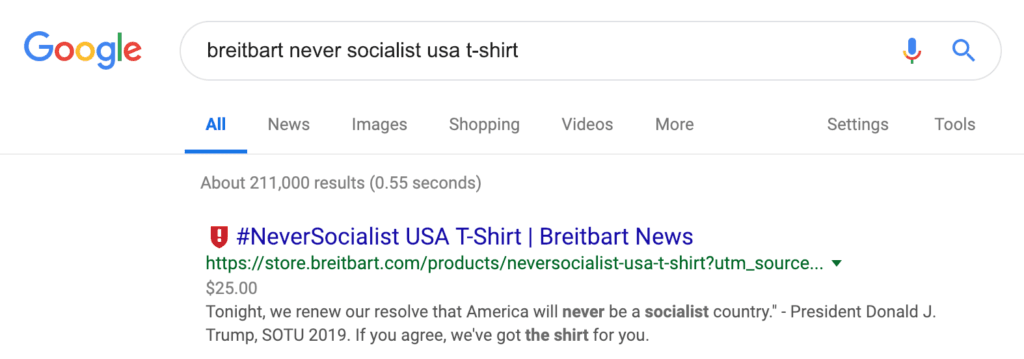 "NewsGuard calls Breitbart shirt ""fake news"""