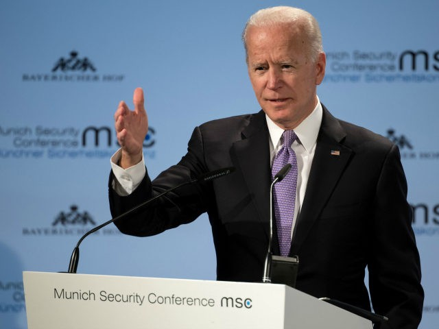 Former US Vice President Joe Biden gives a speech at the 55th Munich Security Conference in Munich, southern Germany, on February 16, 2019. - The 2019 edition of the Munich Security Conference (MSC) takes place from February 15 to 17, 2019. (Photo by Sven Hoppe / DPA / AFP) / …