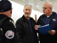 Entertainer and activist Jon Stewart, center, speaks with members of the FealGood Foundation as they arrive on Capitol Hill to speak with lawmakers about the compensation fund for victims of 9/11, Monday, Feb. 25, 2019, on Capitol Hill in Washington. Stewart has been involved in urging support for the first …