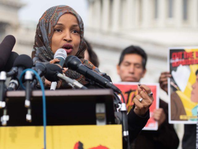 lhan Omar speaks (Saul Loeb / AFP / Getty)