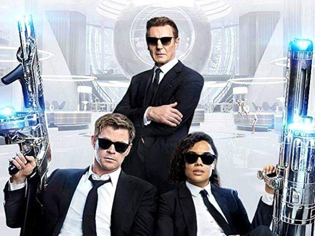 Liam Neeson, Chris Hemsworth, and Tessa Thompson in Men in Black: International (2019)