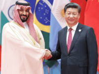 HANGZHOU, CHINA - SEPTEMBER 04: Chinese President Xi Jinping (right) shakes hands with Saudi Arabian Crown Prince Mohammed bin Salman bin Abdulaziz Al Saud to the G20 Summit on September 4, 2016 in Hangzhou, China.