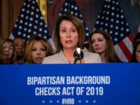 US House Speaker Nancy Pelosi holds a press conference to introduce legislation on expanding background checks for gun sales at the Capitol in Washington, DC, on January 8, 2019. (Photo by NICHOLAS KAMM / AFP) (Photo credit should read NICHOLAS KAMM/AFP/Getty Images)