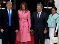 U.S. President Donald Trump and first lady Melania Trump welcome Colombian President Ivan Duque Marquez and first lady Maria Juliana Ruiz Sandoval to the White House February 13, 2019 in Washington, DC. Marquez and Trump are expected to discuss a range of bilateral issues during their meetings. (Photo by Win …