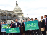 Rep. Markwayne Mullin (R-OK) pointed out at the press conference at the Capitol on Wednesday that while many have reacted to the Green New Deal with incredulity, it should be taken seriously. (Penny Starr/Breitbart News)