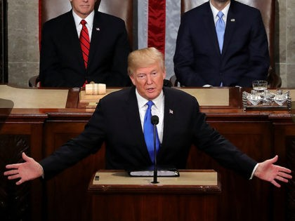 WASHINGTON, DC - JANUARY 30: U.S. President Donald J. Trump delivers the State of the Union address as U.S. Vice President Mike Pence (L) and Speaker of the House U.S. Rep. Paul Ryan (R-WI) (R) look on in the chamber of the U.S. House of Representatives January 30, 2018 in …