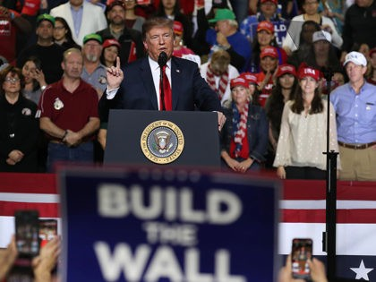 EL PASO, TEXAS - FEBRUARY 11: U.S. President Donald Trump speaks during a rally at the El Paso County Coliseum on February 11, 2019 in El Paso, Texas. U.S. Trump continues his campaign for a wall to be built along the border as the Democrats in Congress are asking for …