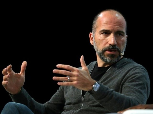Uber, whose CEO Dara Khosrowshahi is seen ina 2018 picture, reported a quarterly loss of $865 million in the past quarter, compared with a $1.1 billion deficit a year earlier
