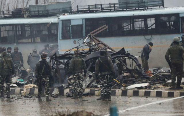 At least 41 paramilitary troops were killed on Thursday as explosives packed in a van ripped through a convoy