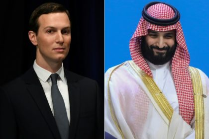 White House advisor Jared Kushner (L) met with Saudi Arabian King Salman and his son, Crown Prince Mohammed bin Salman (R)