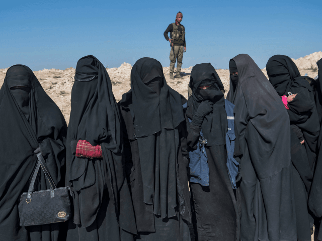 TOPSHOT - A fighter with the US-backed Syrian Democratic Forces (SDF) keeps watch near veiled women standing on a field after they fled from the Baghouz area in the eastern Syrian province of Deir Ezzor on February 12, 2019 during an operation to expel hundreds of Islamic State group (IS) …
