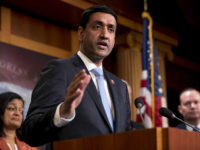 Rep. Ro Khanna, D-Calif., speaks at a news conference on Capitol Hill in Washington, Wednesday, Jan. 30, 2019, on a reintroduction of a resolution to end U.S. support for the Saudi-led war in Yemen. Also pictured is Rep. Pramila Jayapal, D-Wash., left, and Sen. Mike Lee, R-Utah, right. (AP Photo/Andrew …