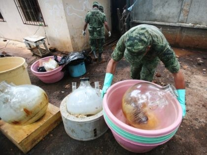 Mexican officials destroy meth labs used by drug cartels. (AP File Photo: Carlos Jasso)