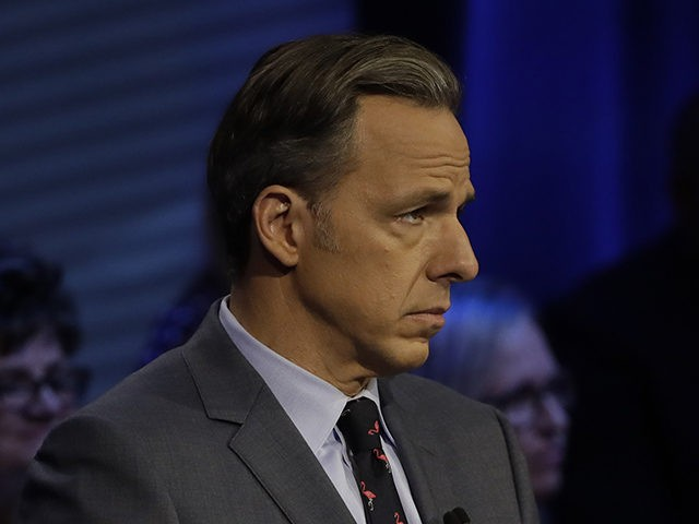 Moderator Jake Tapper during a CNN Florida's governor debate Sunday, Oct. 21, 2018, in Tampa, Fla. (AP Photo/Chris O'Meara)