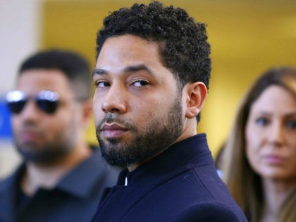 CHICAGO, ILLINOIS - MARCH 26: Actor Jussie Smollett after his court appearance at Leighton Courthouse on March 26, 2019 in Chicago, Illinois. This morning in court it was announced that all charges were dropped against the actor. (Photo by Nuccio DiNuzzo/Getty Images)
