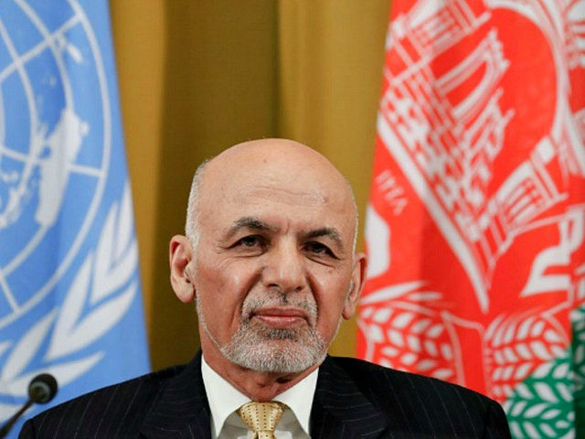 Afghan President Ashraf Ghani looks on during a UN debate on performance of his country's private sector during the Geneva Conference on Afghanistan on November 27, 2018 in Geneva. (Photo by DENIS BALIBOUSE / POOL / AFP) (Photo credit should read DENIS BALIBOUSE/AFP/Getty Images)