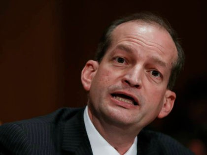 FILE- In this March 22, 2017, file photo, Labor secretary-designate Alex Acosta testifies on Capitol Hill in Washington. Judge Kenneth Marra ruled Thursday, Feb. 21, 2019, that the victims of financier Jeffrey Epstein should have been consulted under federal law. Marra stopped short of invalidating the non-prosecution agreement but asked …