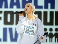WASHINGTON, DC - MARCH 24: Ariana Grande performs 'Be Alright' during the March for Our Lives rally on March 24, 2018 in Washington, DC. Hundreds of thousands of demonstrators, including students, teachers and parents gathered in Washington for the anti-gun violence rally organized by survivors of the Marjory Stoneman Douglas …
