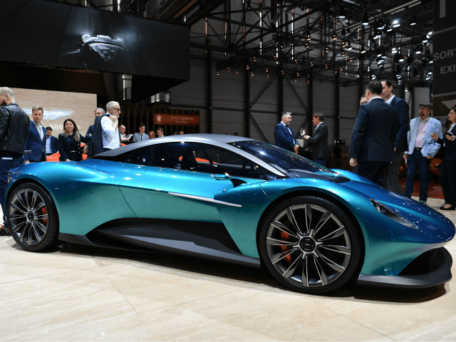 The Aston Martin Vanquish Vision Concept car is displayed on March 5, 2019 during a press day ahead of the Geneva International Motor Show in Geneva. - The 2019 edition of the Geneva International Motor Show will be held from March 7 to March 17, 2019. (Photo by Harold CUNNINGHAM …