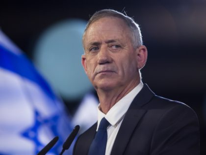 TEL AVIV, ISRAEL - JANUARY 29: Benny Gantz a former head of the IDF and head of Israel resilience party speaks to supporters in a campaign event on January 29, 2019 in Tel Aviv, Israel. Gantz was a General in the Israeli army and was made Chief of Staff in …