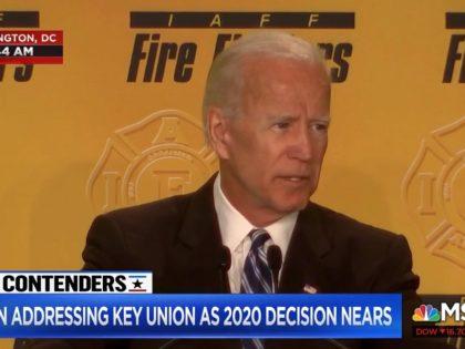 Former Vice President Joe Biden speaks to firefighters