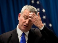 New York City Mayor Bill de Blasio pauses while speaking during a press conference concerning homelessness, February 28, 2017 in New York City.