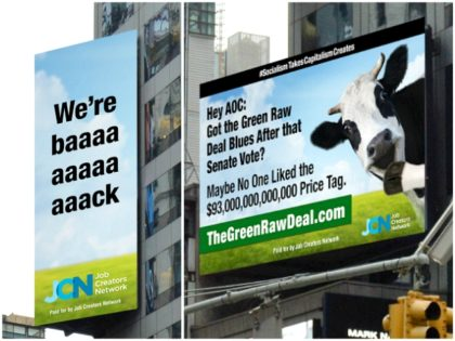 The Job Creators Network, one of the country's largest pro-jobs grassroots organizations, scorched Democratic Rep. Alexandria Ocasio-Cortez (D-NY) with more massive New York City billboards after the Senate voted down the Green New Deal bill, 0-57.