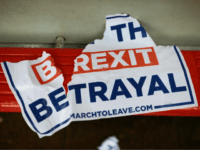 LONDON, ENGLAND - MARCH 12: Pro and Anti Brexit paraphernalia in Westminster ahead of the meaningful vote in Parliament on March 12, 2019 in London, England. MPs, who rejected Theresa May's Brexit deal earlier this year by a majority of 230, are due to vote on revised proposals after Theresa …