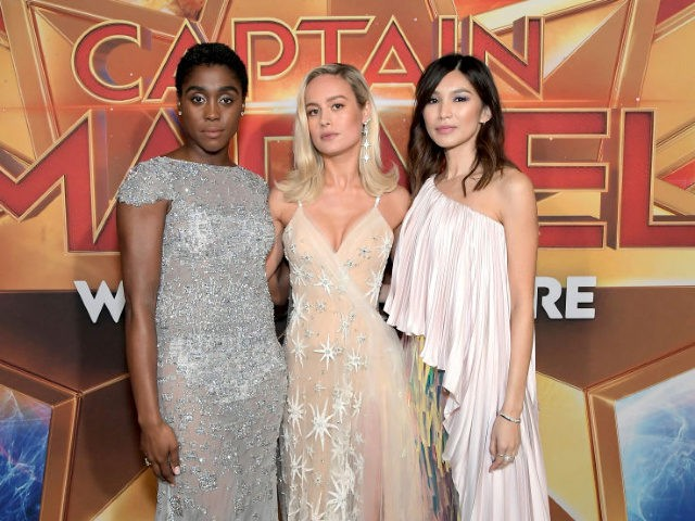 Actors Lashana Lynch, Brie Larson and Gemma Chan attend the Los Angeles World Premiere of Marvel Studios' 'Captain Marvel' at Dolby Theatre on March 4, 2019 in Hollywood, California.