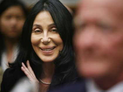 WASHINGTON - JUNE 15: Pop music star Cher (L) joins retired US Navy Medical Corps Dr. Bob Meaders while he testifies before the US House Armed Services Committee Tactical Air and Land Forces Subcommittee about combat helmets on Capitol Hill June 15, 2006 in Washington, DC. Meaders' grandson is currently …