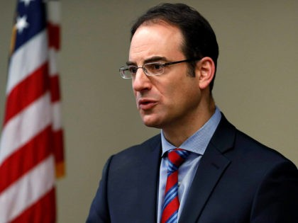 Colorado Attorney General Phil Weiser speaks about the plan to have a former federal prosecutor review the sexual abuse files of Colorado's Roman Catholic dioceses at a news conference Tuesday, Feb. 19, 2019, in Denver. The church will pay reparations to victims under a voluntary joint effort with the state …