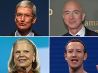 Tim Cook, Ginny Rometty, Jeff Bezos, Mark Zuckerberg - collage.