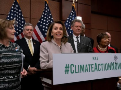 "House Speaker Nancy Pelosi, D-Calif., turns her party's attention to the climate crisis as she leads an event to introduce the ""Climate Action Now Act,"" which focuses on reducing carbon pollution, honoring America's Paris Agreement commitments, and lays the groundwork to expand clean energy, at the Capitol in Washington, Wednesday, …"