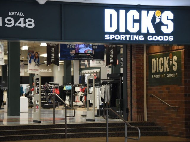 The entrance to the Dick's Sporting Goods store is seen in Glendale, California is seen February 28, 2018. Dick's, one of the nation's largest sports retailers, said February 28 that it was immediately ending sales of all assault-style rifles in its stores.