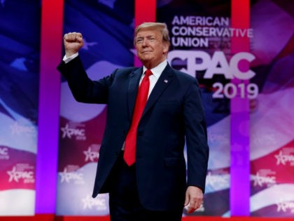 President Donald Trump gestures to the cheering audience as he arrives to speak at Conservative Political Action Conference, CPAC 2019, in Oxon Hill, Md., Saturday, March 2, 2019.