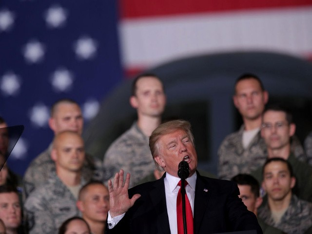 U.S. President Donald Trump speaks to Air Force personnel during an event September 15, 2017 at Joint Base Andrews in Maryland. President Trump attended the event to celebrate the 70th birthday of the U.S. Air Force.