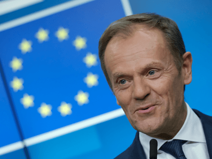 BRUSSELS, BELGIUM - MARCH 21: European Council President Donald Tusk speaks to the media at the end of the first of a two-day summit of European Union leaders on March 21, 2019 in Brussels, Belgium. Leaders discussed British Prime Minister Theresa May's request for an extension of the deadline for …