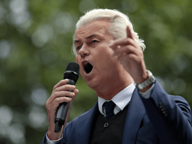 LONDON, ENGLAND - JUNE 09: Dutch Leader of the Opposition Geert Wilders of nationalist Party for Freedom speaks during a 'Free Tommy Robinson' Protest on Whitehall on June 9, 2018 in London, England. Protesters are calling for the release of English Defense League (EDL) leader Tommy Robinson who is serving …