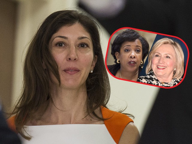 (INSET: Loretta Lynch and Hillary Clinton) Lisa Page, former legal counsel to former FBI Director Andrew Mc Cabe, arrives on Capitol Hill July 16, 2018 arrives to speak before the House Judiciary and Oversight Committee on Capitol Hill in Washington, DC. - Republicans accuse the pair, Lisa Page and FBI …
