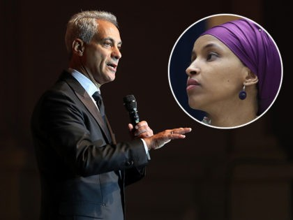 (INSET: Ilhan Omar) CHICAGO, IL - SEPTEMBER 20: Chicago Mayor Rahm Emanuel addresses the audiance during the Laver Cup Gala at the Navy Pier Ballroom on September 20, 2018 in Chicago, Illinois. The Laver Cup consists of six players from Team World competing against their counterparts from Team Europe. John …