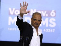 DETROIT, MI - OCTOBER 26: Former Attorney General Eric Holder speaks at a rally to support Michigan democratic candidates at Cass Tech High School on October 26, 2018 in Detroit, Michigan. Holder, and former President Barack Obama, who was also at the rally, are among approximately a dozen democrats who …