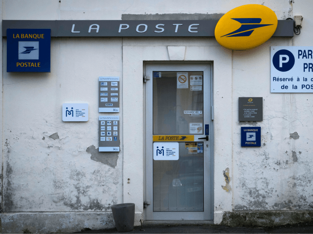 A post office with the logo of France's La Poste Group is seen in Grandcamp-Maisy, Normandy, northwestern France, on October 27, 2018. (Photo by JOEL SAGET / AFP) (Photo credit should read JOEL SAGET/AFP/Getty Images)