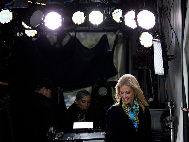 Counselor to the President Kellyanne Conway arrives for an interview with Fox News outside the White House on January 18, 2019 in Washington, DC. (Photo by Brendan Smialowski / AFP) (Photo credit should read BRENDAN SMIALOWSKI/AFP/Getty Images)