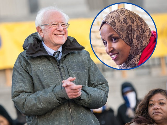 (INSET: Ilhan Omar) COLUMBIA, SC - JANUARY 21: U.S. Sen. Bernie Sanders (I-VT) claps with a song during the annual Martin Luther King Jr. Day at the Dome event on January 21, 2019 in Columbia, South Carolina. Sanders was joined by fellow potential Democratic presidential candidate, Sen. Cory Booker (D-NJ). …