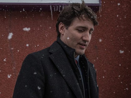Canadian Prime Minister Justin Trudeau talks to the press after a meeting with the Muslim community at the Islamic Cultural Center of Quebec in Quebec City, Canada on January 25, 2019, two years after the mosque attack. - Canadian Alexandre Bissonnette will be sentenced on February 8, 2019 for killing …