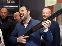 VICENZA, ITALY - FEBRUARY 9: Italian Interior Minister, Matteo Salvini is seen holding a Beretta Rifle next to Beretta's Director General Carlo Ferlito at the HIT Trade Show on February 9, 2019 in Vicenza, Italy. Italy has loosened its restrictions on gun ownership in recent months, doubling the number of …