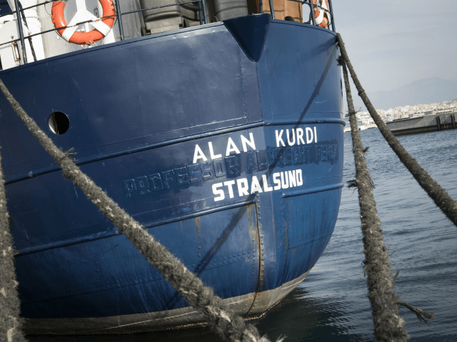 A picture shows the Sea-Eye rescue ship named after Alan Kurdi during its inauguration in Palma de Mallorca on February 10, 2019. - The former research vessel 'Professor Albrecht Penck' was rebaptised 'Alan Kurdi', after the Syrian boy who was drowned during a ship wreck in the Mediterranean Sea. (Photo …