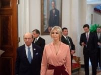 Senior White House advisor Ivanka Trump and Commerce Secretary Wilbur Ross (R) arrive for the first meeting of the American Workforce Policy Advisory Board with US President Donald Trump in the State Dining Room of the White House in Washington, DC, March 6, 2019. (Photo by SAUL LOEB / AFP) …