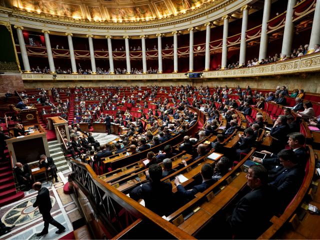 This picture taken on March 12, 2019 shows a general view of the National Assembly in Paris during a session of questions to the government. (Photo by Lionel BONAVENTURE / AFP) (Photo credit should read LIONEL BONAVENTURE/AFP/Getty Images)
